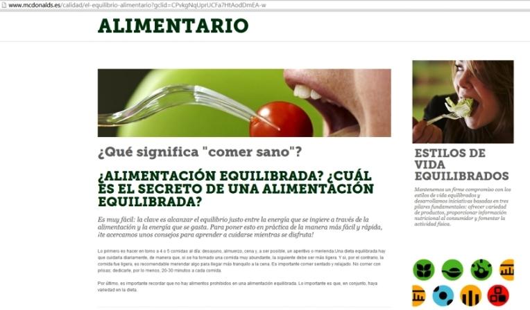 foto de pantalla de la pagina Web de McDonald...