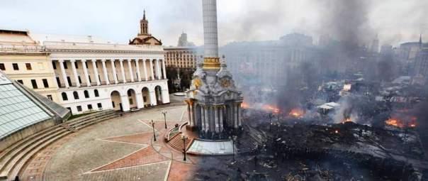 Antes y después de la plaza de la Independencia de Kiev