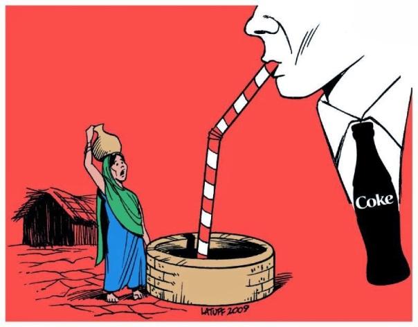 Coca cola roba el agua pura de los pueblos de la India para elaborar su refresco contaminando con los desechos de la fabricación.