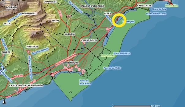 Parque natural de Sierra Gelada + zona LIC